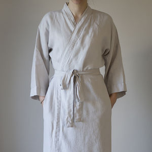 Linen Bathrobe - lounge & activewear