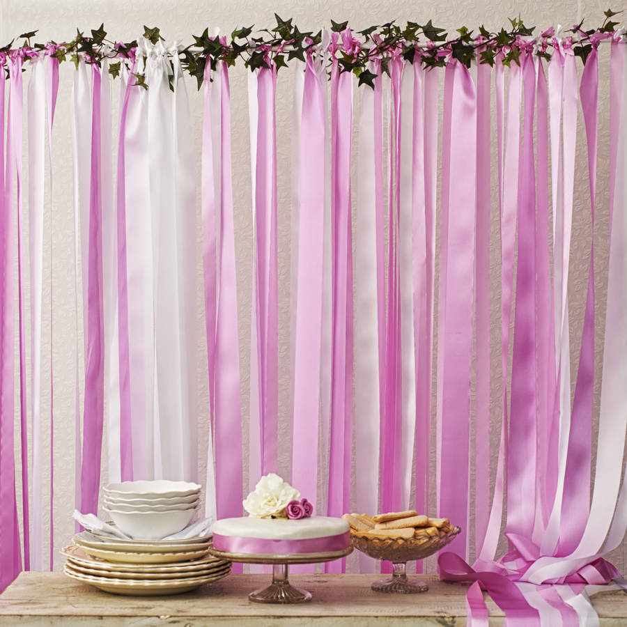 Candy pinks ribbon backdrop on white pole with ivy by just for Backdrop decoration