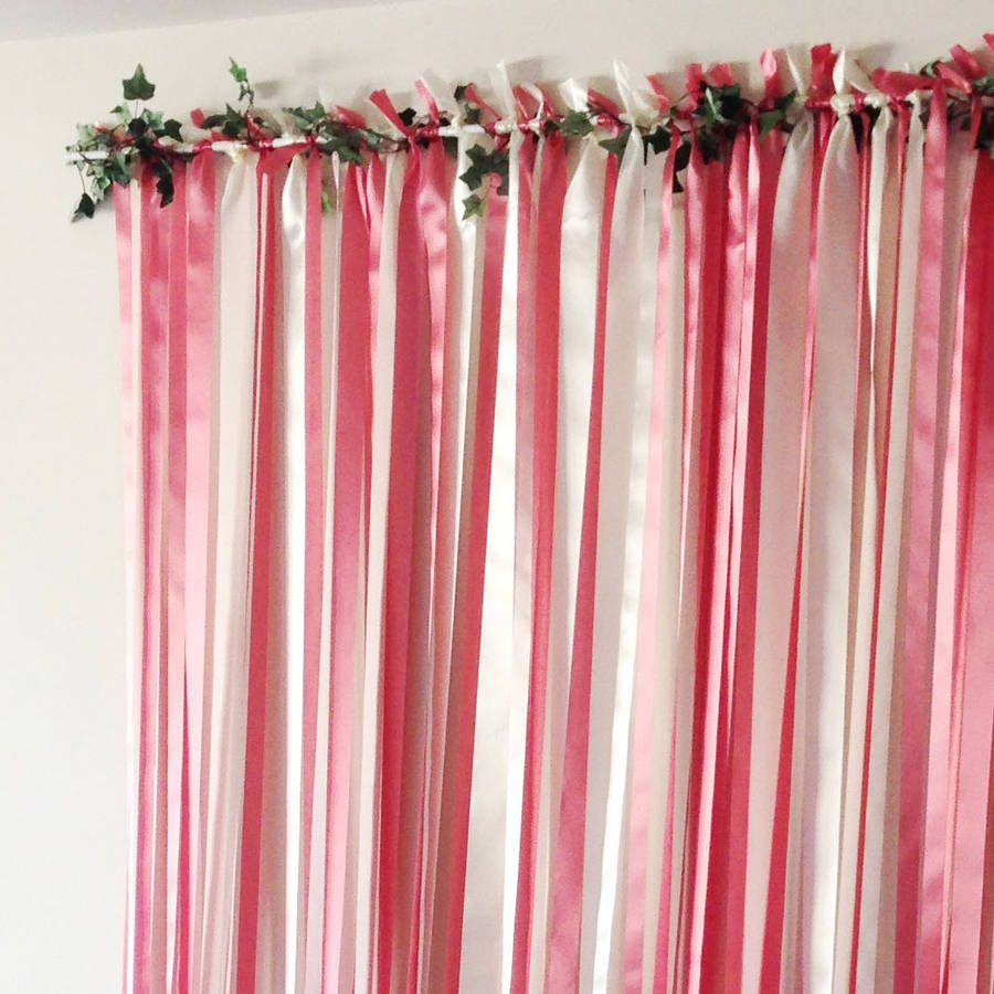 Pink And Cream Ribbon Backdrop On White Pole With Ivy By