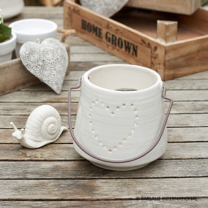 White Ceramic Heart Lantern
