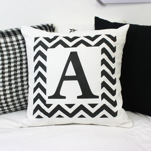 Monochrome Initial Letter Cushion