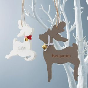 Engraved Reindeer Decoration - personalised