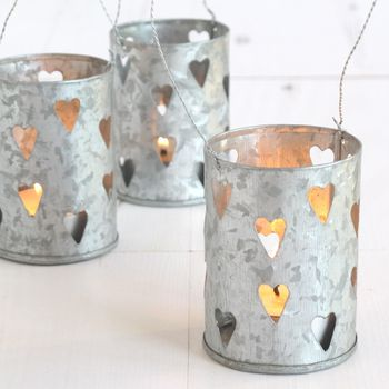 Set Of Three Zinc Heart Tea Light Holders