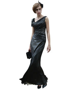 Black Satin Asymmetrical Evening Dress - women's fashion