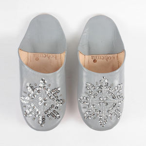 Leather Sequin Babouche Slippers, Basic Collection - shoes