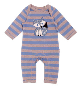 Blue And Lilac Striped Sleepsuit With Fox Applique