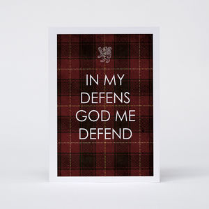 'In My Defens God Me Defend' Card
