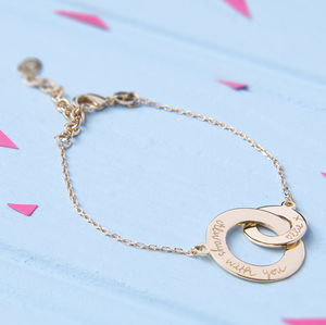 Personalised Gold Plated Intertwined Chain Bracelet