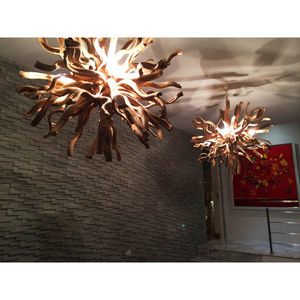 Medium Round Driftwood Inferno Chandelier - bedroom
