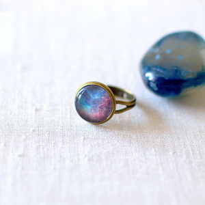Blue And Red Galaxy Ring - women's sale