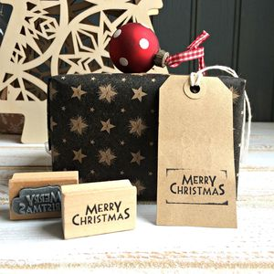 Vintage Style 'Merry Christmas' Wooden Stamp - cards & wrap