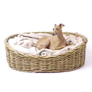 Greywash Oval Rattan Pet Basket - beds & sleeping