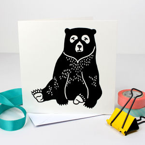 Bear Illustrated Greetings Card - blank cards