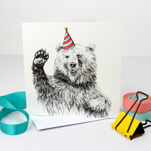 Waving Bear Birthday Card