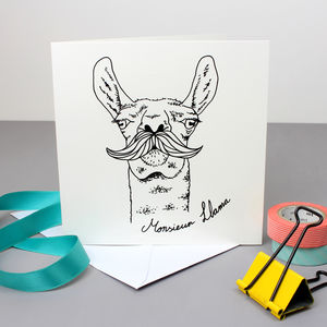 Monsieur Llama With Moustache Greetings Card