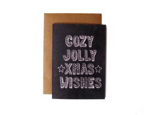'Cozy Jolly Xmas Wishes' Name In Lights Chalkboard Card - cards & wrap