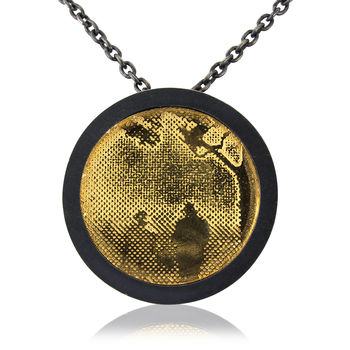 Black And Gold Countryside Couple Necklace