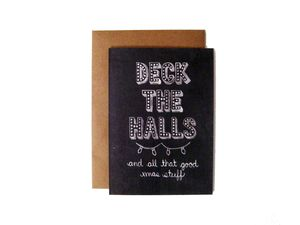 'Deck The Halls' Name In Lights Chalkboard Card