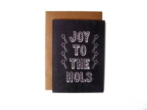 'Joy To The Hols' Name In Lights Chalkboard Card