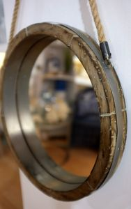 Reclaimed Barrel Lid Rope Mirror - mirrors