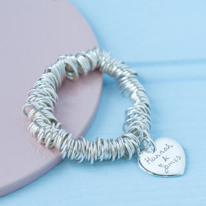 Lover's Personalised Sterling Silver Coil Bracelet