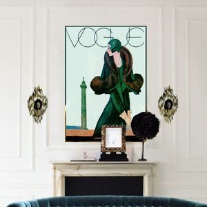 Vintage Reissue 1920's Vogue Cover Girl, Canvas Art - shop by subject
