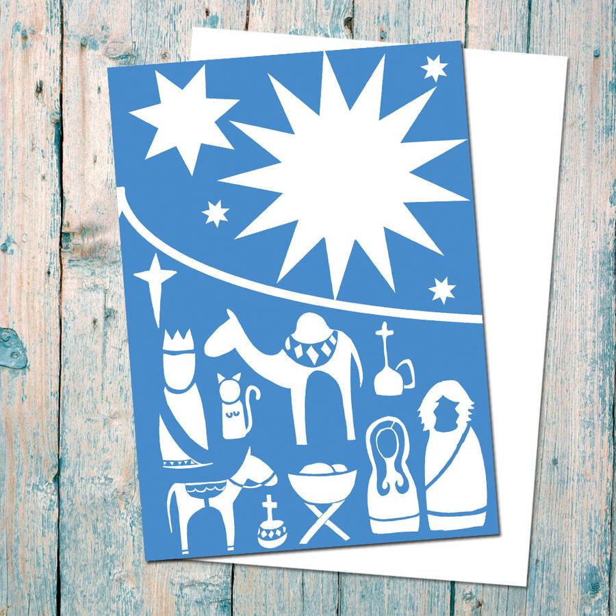 modern nativity scene christmas card pack of sixindie