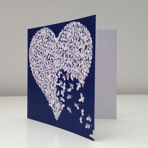 Romantic White Butterfly Heart Card