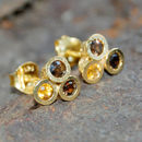 Triple Stone Citrine Earrings