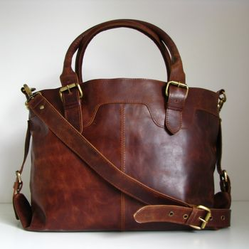 Leather Buckle Tote Bag