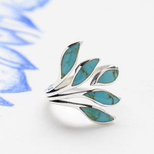 Adjustable Turquoise Silver Leaf Ring - rings