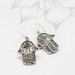 Hamsa Sterling Silver Drop Earrings - earrings