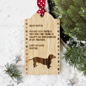 Personalised Pet Santa Letter Decoration