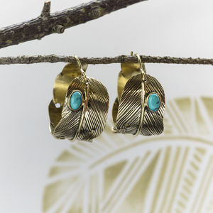 Feather Hoop Earrings - women's sale