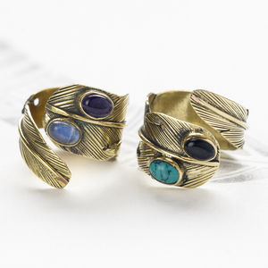 Handmade Gemstone Feather Ring - rings