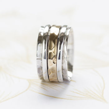 Karma Bronze And Silver Spinning Ring