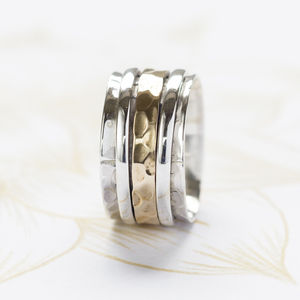 Karma Bronze And Silver Spinning Ring - men's sale