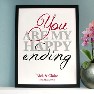 Personalised 'You Are My Happy Ending' Art - canvas prints & art