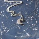 Tiny Crescent Moon And Star Necklace