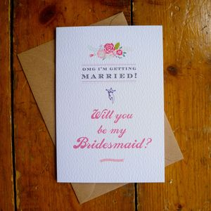 Will You Be My Bridesmaid Coral Rose Card