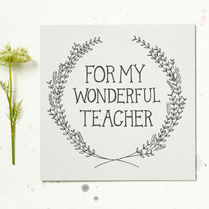 For My Wonderful Teacher Card - thank you cards
