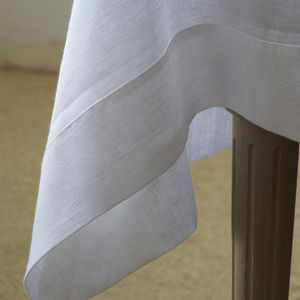 Mitered Hem Linen Tablecloth - dining room