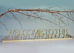 Personalised Family Welcome Sign - decorative letters