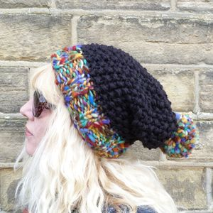 Chunky Knit Colourful Bobble Hat