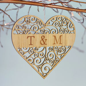 Personalised Bamboo Love Heart - room signs