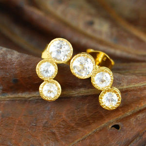 Gold And White Topaz Graduating Earrings - birthstone jewellery gifts