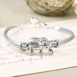 Silver Leather Elephant Bracelet - women's sale