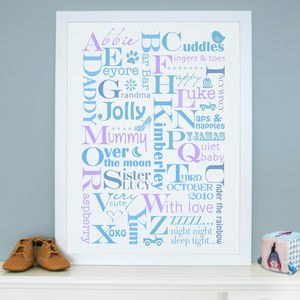 Personalised Alphabet Names Print - posters & prints for children