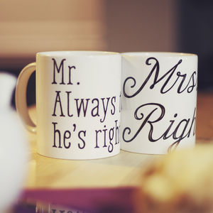 'Mr And Mrs Right' Customisable Couples Mug