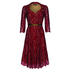 1950s Style Full Skirted Dress In Ruby Lace